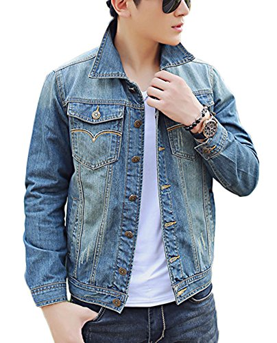 Plaid&Plain Men's Classic Slim Fit Jean Jacket Blue Denim Trucker Jacket Blue L
