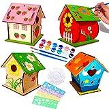 Funmo 4 Pièce Maison D'oiseau Bricolage Kit, Nichoir en Bois Bricolage, Construire et Peindre Nichoir Suspendu, Maison d'oiseaux avec des Outils de Peinture Enfant Pédagogique Toy