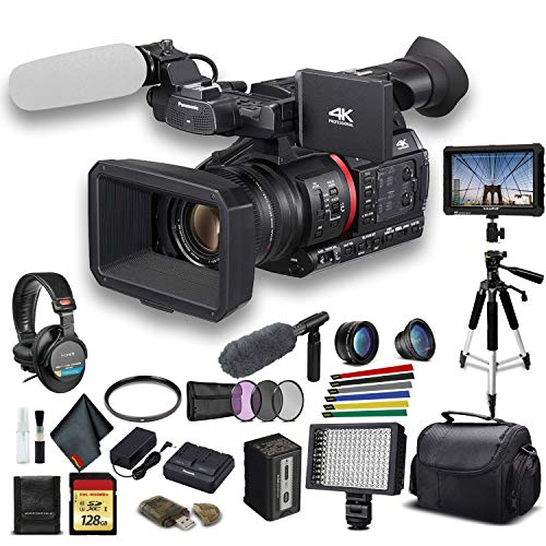 Panasonic AG-CX350 4K Camcorder (AG-CX350) W/Padded Case, 128 GB Memory Card, Heavy Duty Tripod, Lens Filters, Sony Headphones, Sony Mic, External 4K Monitor, Wire Straps, LED Light, and More?