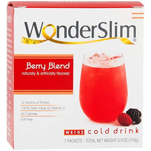 WonderSlim Low-Carb High Protein Powder Diet Fruit Drink (12g Protein) - Berry Blend (7 Servings/Box) - Low Carb, Low Calorie, Fat Free, Cholesterol Free