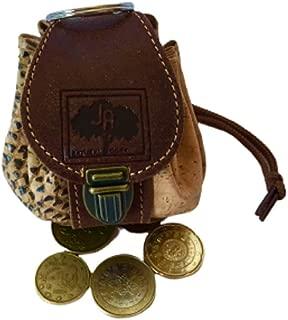 Original Monedero de Corcho y Piel en Forma de Mini Mochila Cierre con cordón y Broche (marrón)