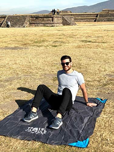51gmDnDXTcL - Travel Capsule Large Outdoor Pocket Blanket 55″x70″ - Perfect for Hiking, Camping, Outdoor Sporting Events, picnics and More! Stakes and Carabiner Included. Perfect for Quarantine HANGOUTS!