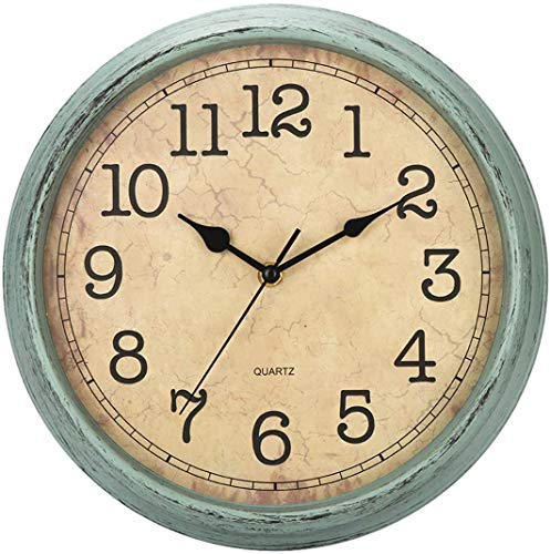 HYLANDA 12 Inch Vintage/Retro Wall Clock, Silent Non-Ticking Decorative Wall Clocks Battery Operated with Large Numbers&HD Glass Easy to Read for Kitchen/Living Room/Bathroom/Bedroom/Office