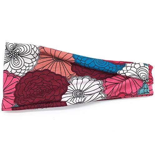 Dontdo Bandeau de yoga pour femme Imprimé floral Large bandeau de jogging Yoga Anti transpiration