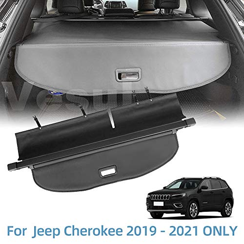 Vesul Retractable Rear Trunk Cargo Cover Fit for Jeep Cherokee 2019 2020 2021 Security Shade Shield Tonneau Cover Anti-Peeping Luggage Privacy Screen with Extra Canvas Cover
