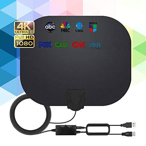 Antena TV Interior, 240KM Rango Amplificador de Señal Inteligente Antena de TV Digital para Interiores Canales de TV 1080P 4K Gratuitos,para Todos los Televisores Cable Coaxial de 5M (Negro)