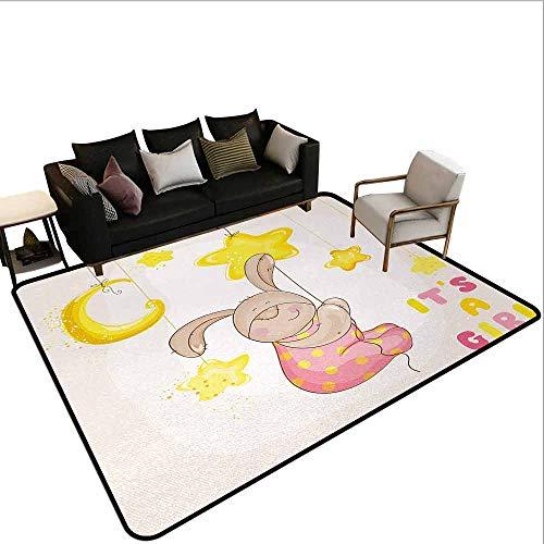 MsShe Vierkante tapijt Kinderen Verjaardag, Patchwork Geïnspireerd Ontwerp met Uil Vogels Olifant en Bloemen, Hemel Blauw en Lichtblauw