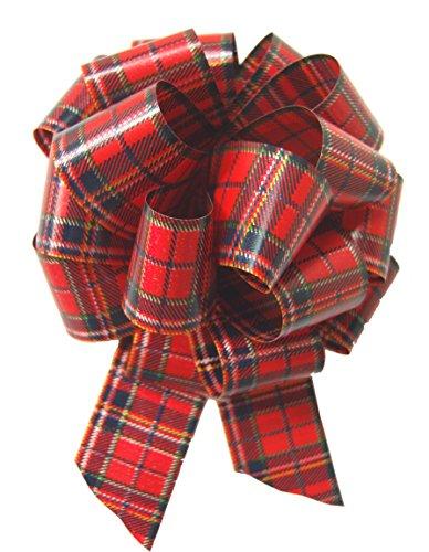 30 x rode tartan strikjes 50mm mandje mand kerst lint strikken