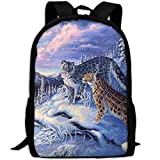 TTmom Mochila/Mochilas Tipo Casual,Bolsa de Viaje, Amazing Leopards Lovers In Snow Landscape Interest Print Custom Unique Casual Backpack School Bag Travel Daypack Gift -