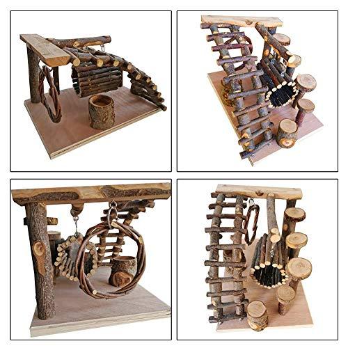 Niumen Hamster Klettern Spielzeug, Hamster Molaren Spielzeug, Kleines Haustier Leiter Kleines Haustier Hängematte Aus Holz Fitness Kletterzubehör Für Kleine Hamster Kaninchen