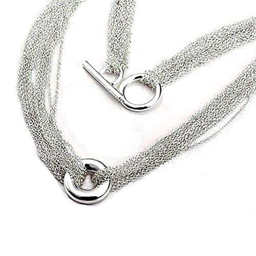 Layered Multi Row/Strand Chains & Circle Necklace With Toggle/T-Bar Clasp - 16' Inch - 925 Sterling Silver Plated - Designer Inspired