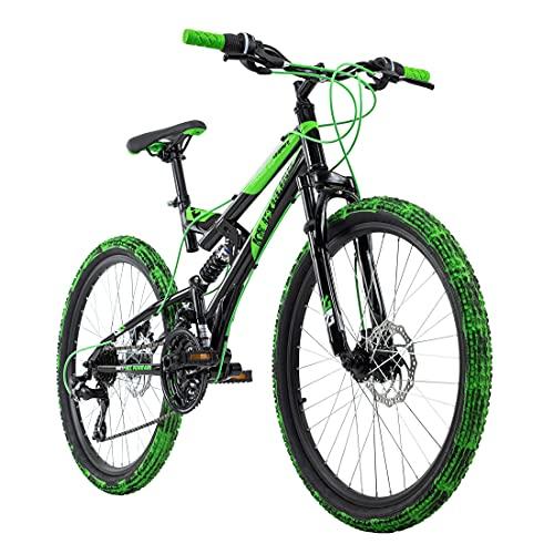 KS Cycling Mountainbike Fully Kinderfahrrad 24\'\' Crusher schwarz-grün RH 41 cm