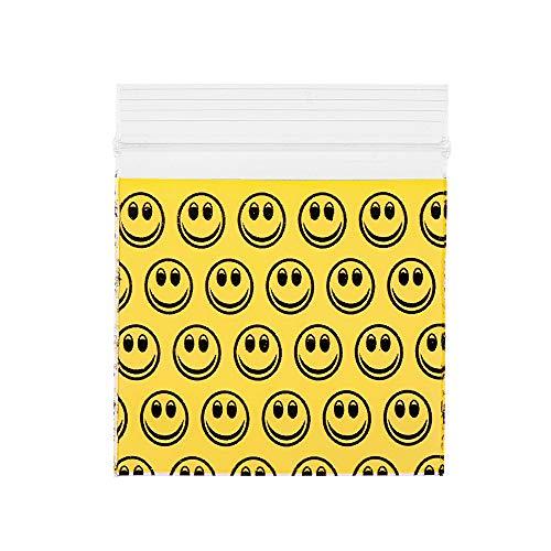 Plastikbeutel mit Druckverschlussbeutel, Motiv: Smile, gelbes Muster, 100 Stück