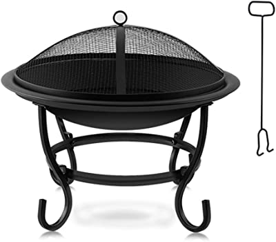 Fire Pit Outdoor Large Bonfire Wood Burning Patio & Backyard Firepit for Outside Spark Screen Propane w/Natural Stone Cover Fireplace Poker, and Round Cover Bronze (Size : S)