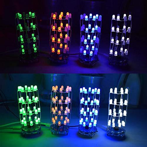 MING-MCZ Duradero Kit Cilindro de Bricolaje Verde Mini Estrella LED Parpadeante con 23 Intermitente Modo 3 Piezas Fácil de Montar