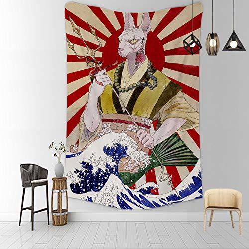 CNYG Manta psicodélica Kanagawa Wave Print Suspensión Manta Colgante de Pared Cama Bohemia Colgante de Pared Decoración del hogar Tapiz de Dormitorio AAAA 150x200CM