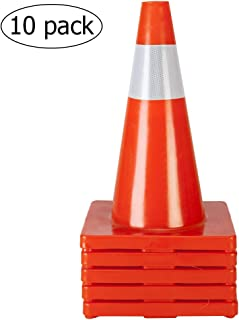 """TUFFIOM 10Pcs Safety Traffic Cones, 18"""" Orange Slim Fluorescent Reflective Collars, Road Parking Field Marker Cones for Outdoor Activity & Festive Events Multipurpose"""