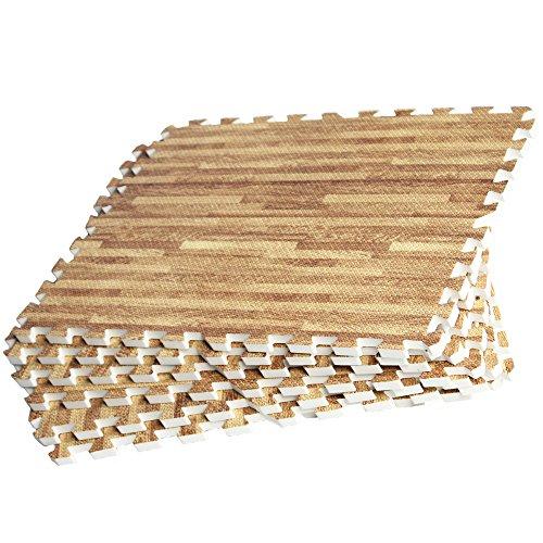 GORILLA SPORTS Schutzmatten Set 8 Bodenschutzmatten 60x60cm | Bodenschutz Puzzlematten (holzoptik)
