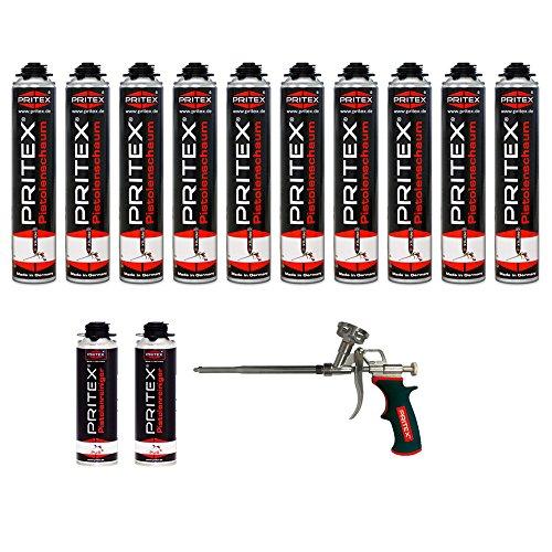 Preisvergleich Produktbild 13er Set Pistolenschaum 10 x 750ml + 2 Reiniger + 1 Pistole Montageschaum Bauschaum Schaum PU-Schaum PRITEX
