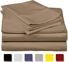 COTTONWALAS #1 Lowest Prices - Mega Sale True Luxury Solid Pattern Egyptian Cotton 600 Thread Count 4 Piece Sheet Set Fits Upto 14-18'' Deep Pocket (Size, Color) Queen Beige