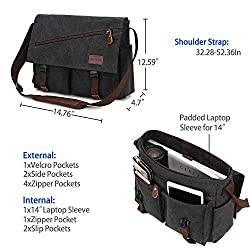 Messenger Bag For Men,Water Resistant Unisex Canvas Shoulder Bag Fits 14 Inch Laptop School Satchel Book Bag for Work and College