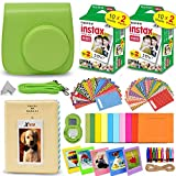 Fujifilm Instax Mini Instant Film (2 Twin Packs, 40 Total Pictures) + Lime Green Fitted Case for Instax Mini 9 Instant Camera, Assorted Colorful Stickers/Frames, Photo Album + More