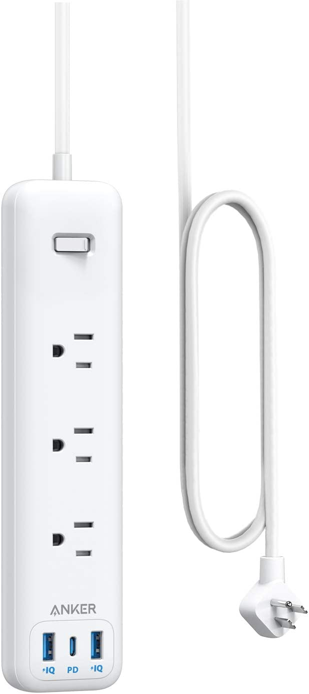 Anker USB C Power Strip with Power Delivery, 3 Outlets and 30W 3 USB (1 USB C, 2 USB A) Surge Protector, PowerPort Strip PD 3 with 6ft Long Extension Cord, Flat Plug, for Home, Office, and Dorm Room