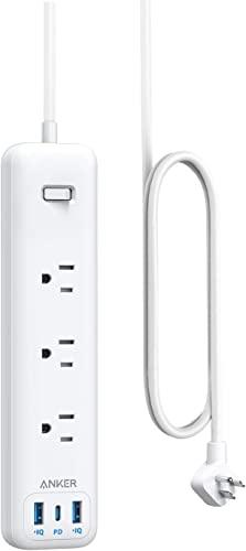 new arrival Anker USB C Power Strip with Power Delivery, 3 Outlets and 30W 3 USB (1 USB C, 2 USB A) Surge Protector, PowerPort Strip PD 3 with 6ft Long Extension outlet online sale Cord, Flat discount Plug, for Home, Office, and Dorm Room online sale