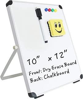 """Small Magnetic Dry Erase Whiteboard Desktop Easel, 10 x 12"""" Portable Mini Message/Memo/Note Board, Wall Mount Board for Home, Office, School (Whiteboard/Chalkboard)"""