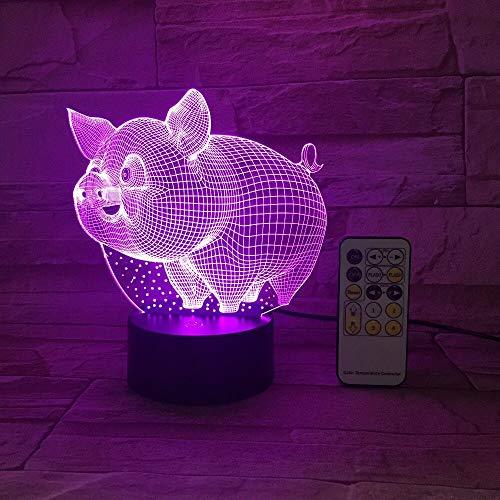 shiyueNB Varken 3D LED Enceinte de contrôle Tactile Kleurrijke 5V USB Créativité Kleine Acryl LED Tafellamp Zelf Dons Maison D