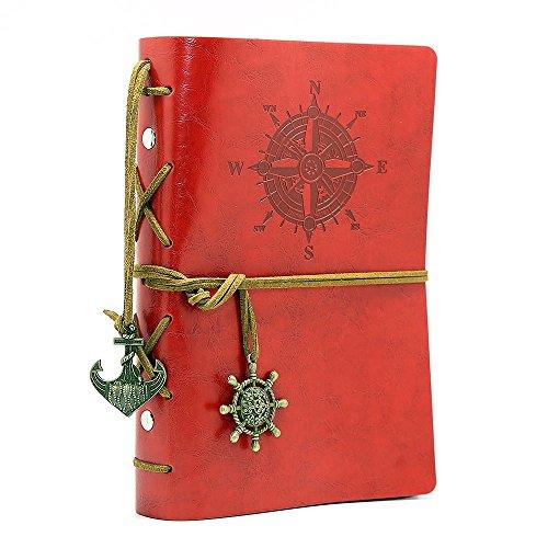 NectaRoy Retro Vintage Ubierta de Cuero de la PU Cuaderno Agenda Bloc de Notas Pirata Náutico Revista Diario Timón de Cuerda, Notebook Libreta Mano Escrito Viaje