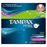 Tampax Pearl Plastic, Super Absorbency, Scented Tampons, 36 Count