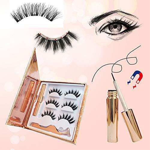 Magnetische Wimpers, Magnetische Eyeliner En Wimperset, 3 Magneten, Nepwimpers Geen Lijm Nodig Magnetische Wimperset (3 Paar),3