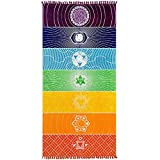 Jixista Tapices de Yoga Chakras Tapiz Manta Yoga Mandala Yoga Mat Rainbow Chakra Toalla Tapiz de Tapete de Yoga Rainbow 7 Chakra Stripes Toalla para Hogar Viajes Decoración del Hogar