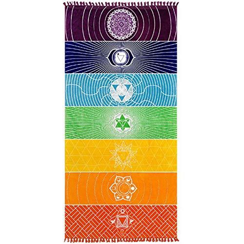 Jixista Strandtuch Yogamatte Handtuch Böhmen Yoga Decke Tapestry Printed Regenbogen 7 Chakra Mandala Dekoration Tapisserie Wandteppich Wandteppich Hippie für Strand Pool Fitnessstudio Yoga und Sauna
