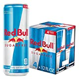 Red Bull Energy Drink Sugar Free 4 Pack of 12 Fl Oz, Sugarfree
