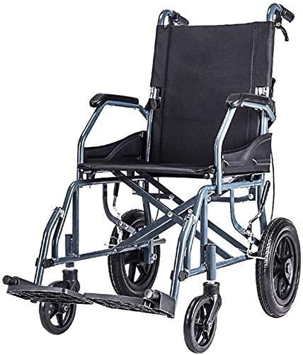 Syxfckc Lichttransport Rollstuhl Dicker Stahlrahmen, tragbare Klappstühle 10 kg, vordere und hintere Bremsen, 100 kg Last, schwarz (Color : Black)