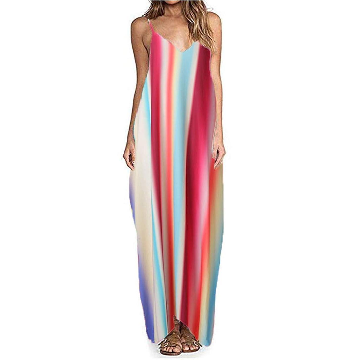 Sttech1 Women's Summer V-Neck Long Dress Sleeveless Loose Rainbow Printed Pocket Beach Dress
