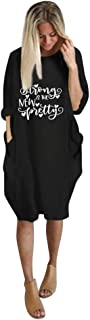 Women O-neck Short Sleeve Loose Tops ❀ Ladies Letter Printed Tee Shirt Blouse Tunic Tops Loose Mini Dress