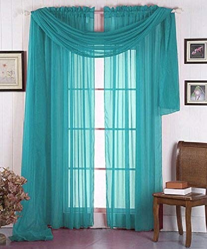 """Beautiful Elegant Solid Sheer Scarf Valance Topper 37"""" X 216"""" Long Window Treatment Scarves Many Colors for Room, Bedroom, Wedding, Women (Turquoise)"""