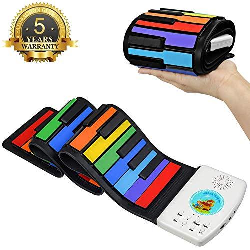 Best Buy! FJFJFJ 49 Key Piano Keyboard Children Portable Soft Handscroll Controller Synthesizer Roll...