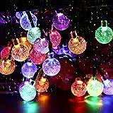 Luces solares de jardín, 50 luces LED de 24 pies para exteriores con forma de bola de cristal, multicolor, impermeable, iluminación decorativa para el hogar, jardín, patio, Navidad, etc.