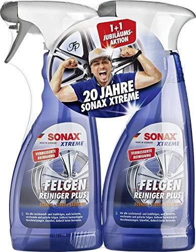 SONAX 2x XTREME Felgenreiniger PLUS (500 ml) effiziente & säurefreie Reinigung aller Leichtmetall- und Stahlfelgen sowie lackierte, verchromte und polierte Felgen | Art-Nr. 02302410