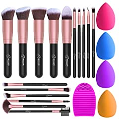 16Pcs Premium Makeup Brushes Set: 5 Pcs basic big kabuki makeup brushes and 11Pcs precision brushes. Premium Cruelty-Free Synthetic Fibers: Made with soft and dense synthetic fibers. It provides a high definition finish with liquid, powders or cream ...