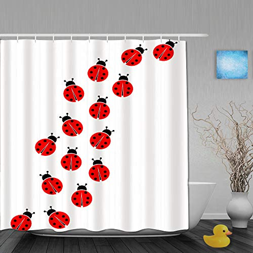 MANISENG Duschvorhang,Sieben Marienkäfer,personalisierte Deko Badezimmer Vorhang,mit Haken,180 * 180