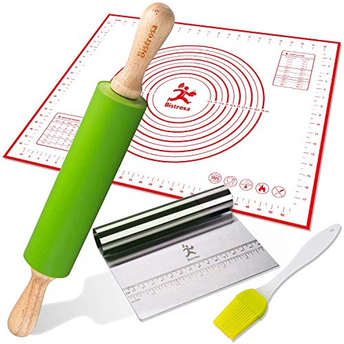 Rolling Pins for Baking Combo, Pastry Mat Kit With Chopper/Scraper and Basting Brush, Large 19x23 Inch Reusable Silicone Non-Slip Non-Stick Mat With Fondant/ Dough Measurements/Dough Roller Baking Set