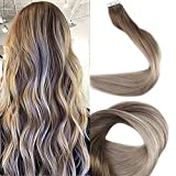 Full Shine Tape In Remy Hair 20' Ombre Tape in Hair Extensions Human Hair Tape Balayage Color #8 Ash Brown Fading to #60 and #18 20 Pcs 50 Gram Per Package