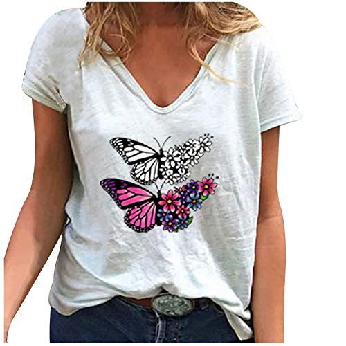 Maglietta a Maniche Corte Stampata con Scollo a V Allentato Moda Casual da Donna (L,5bianca)