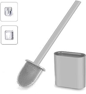 Brosse WC, Brosse de Toilette, Brosse Toilettes WC Suspendue en Silicone Antibactérienne avec Support Hygiénique, Balayett...