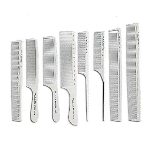 Salón blanco peine de peluquería profesional resistente al calor antiestático conjunto de peine para el cabello de 8 sets Peluquería corte de peinado preferido
